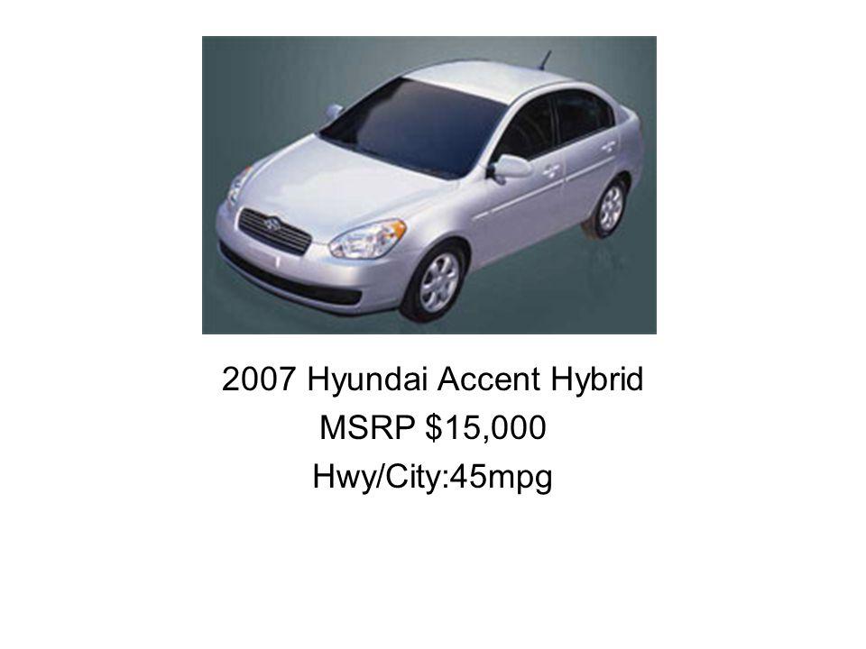 2007 Hyundai Accent Hybrid MSRP $15,000 Hwy/City:45mpg
