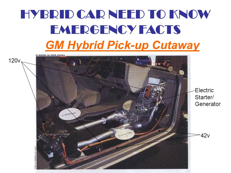 HYBRID CAR NEED TO KNOW EMERGENCY FACTS GM Hybrid Pick-up Cutaway