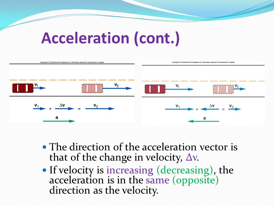 Acceleration (cont.) The direction of the acceleration vector is that of the change in velocity, ∆v.