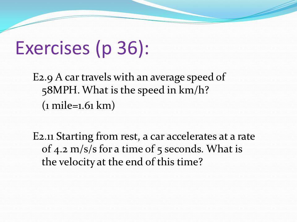 Exercises (p 36):