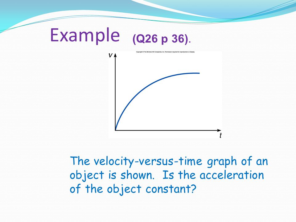 Example (Q26 p 36). The velocity-versus-time graph of an object is shown.