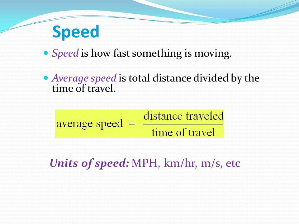 Speed Units of speed: MPH, km/hr, m/s, etc