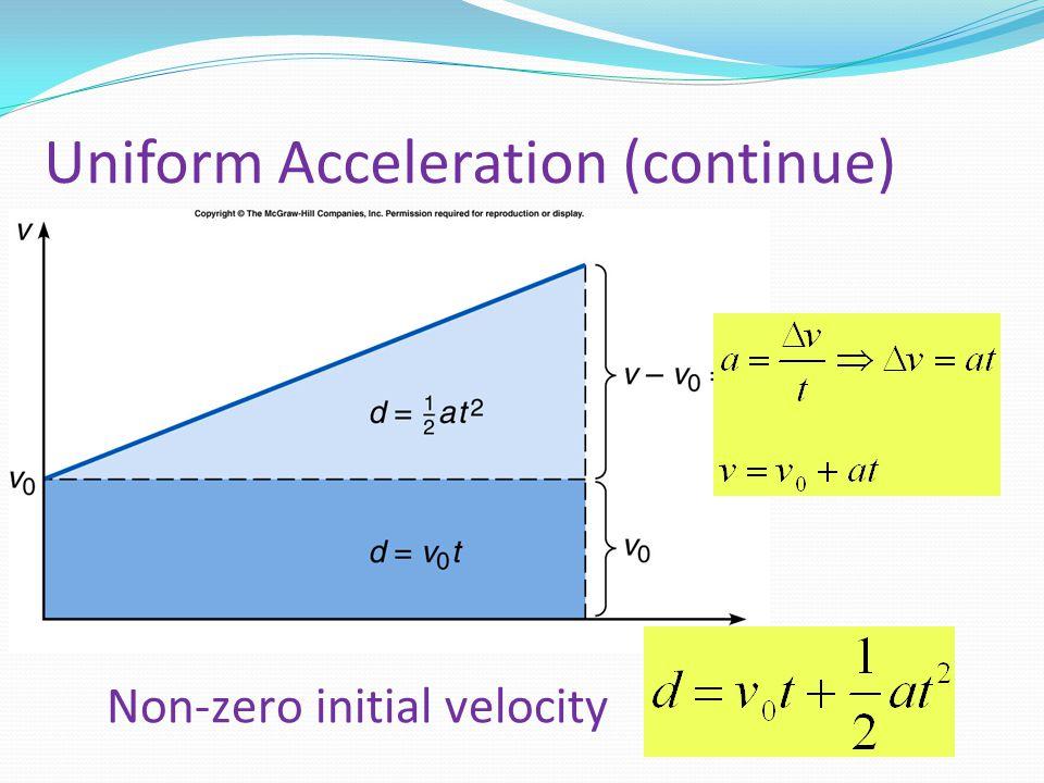 Uniform Acceleration (continue)