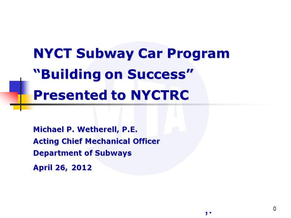 Presentation Outline New Millennium Rail Car Initiative