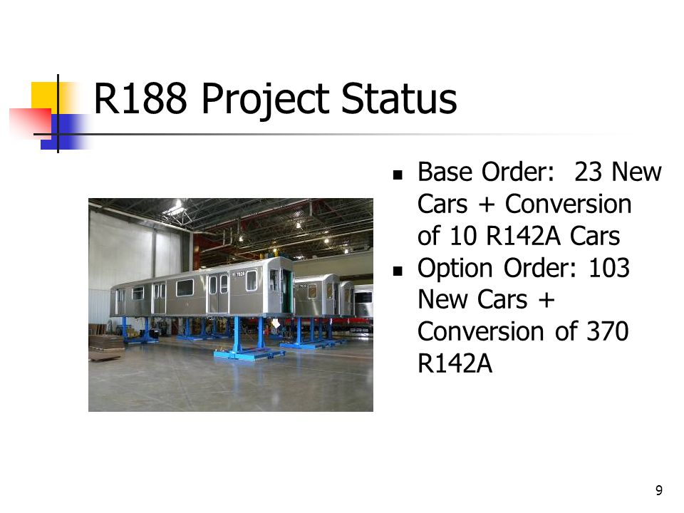 R188 Project Status 10 R142A Conversion cars were delivered in December 2011. New Cars in Production.