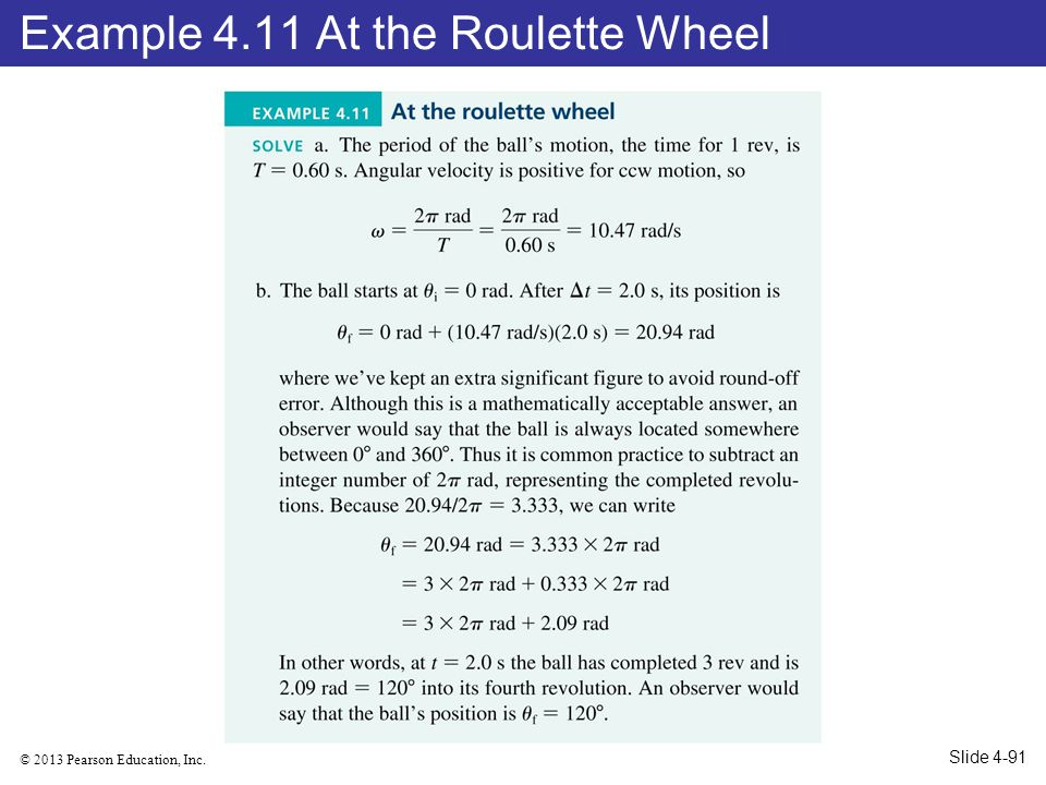 Example 4.11 At the Roulette Wheel