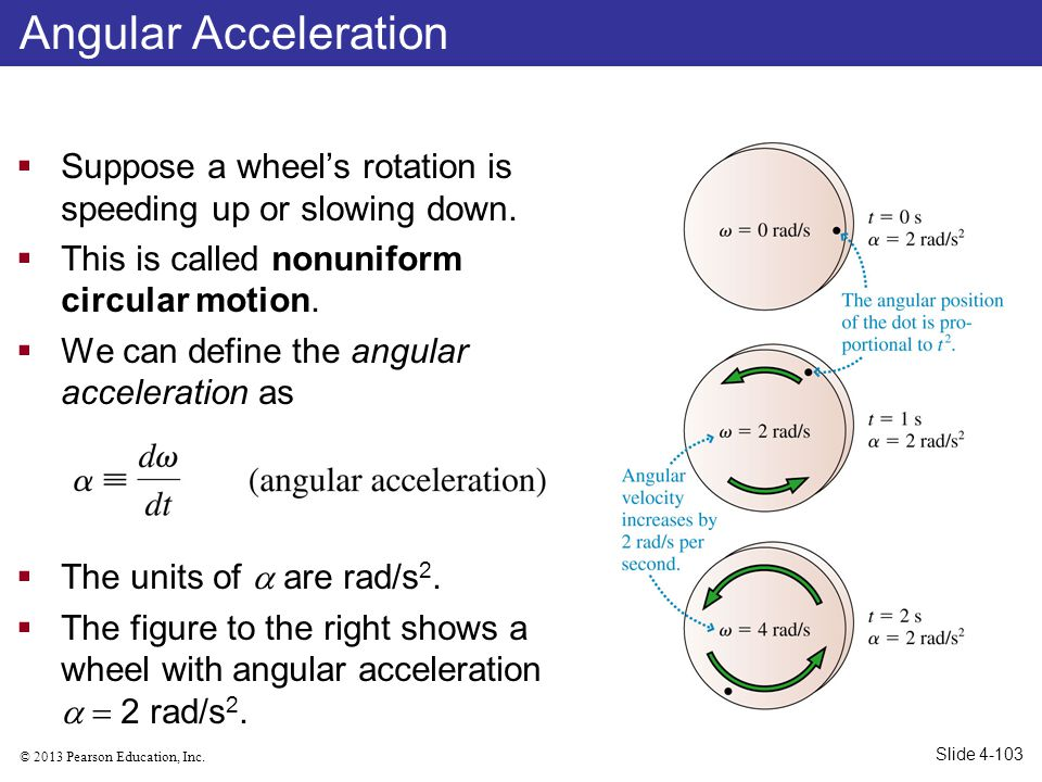 Angular Acceleration Suppose a wheel's rotation is speeding up or slowing down. This is called nonuniform circular motion.