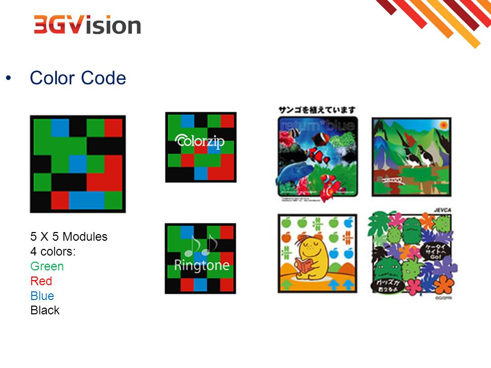 Color Code 5 X 5 Modules 4 colors: Green Red Blue Black