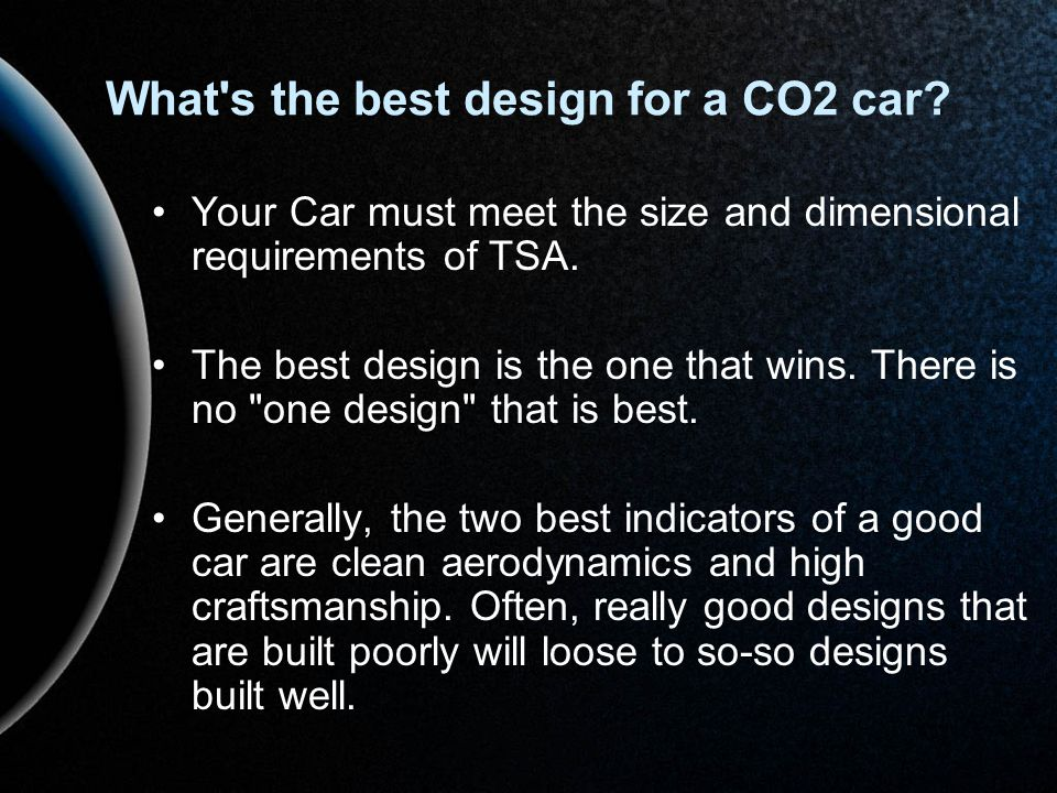 What s the best design for a CO2 car