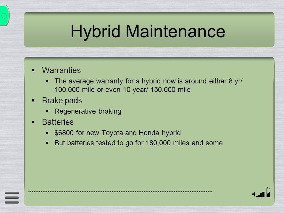 Hybrid Maintenance Warranties Brake pads Batteries