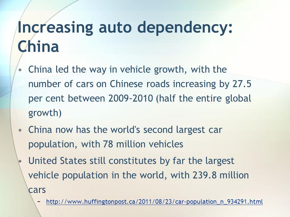 Increasing auto dependency: China