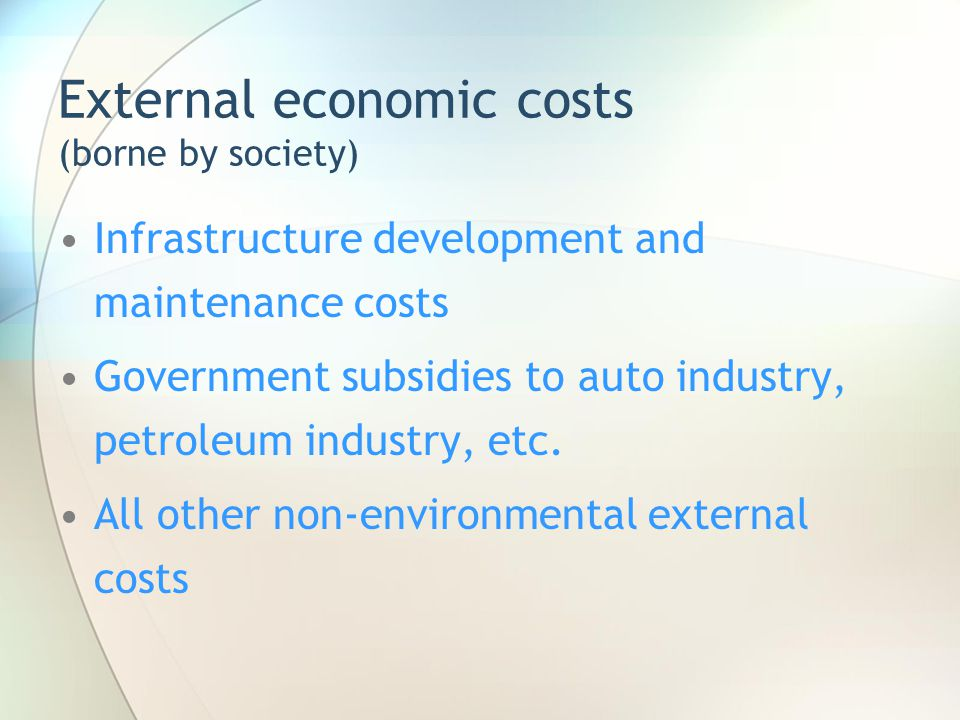 External economic costs (borne by society)