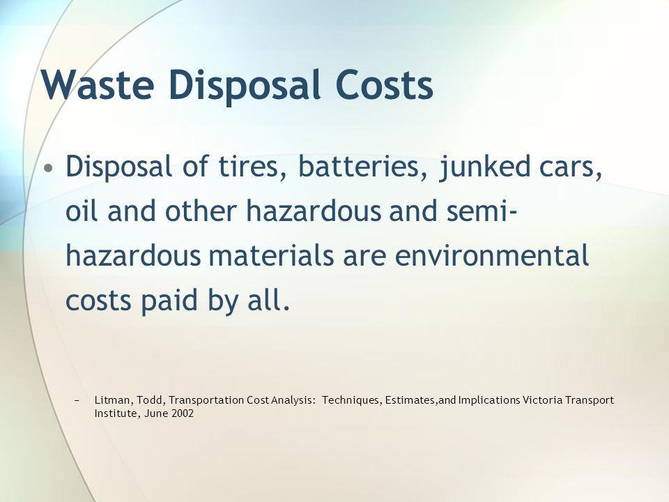 Waste Disposal Costs