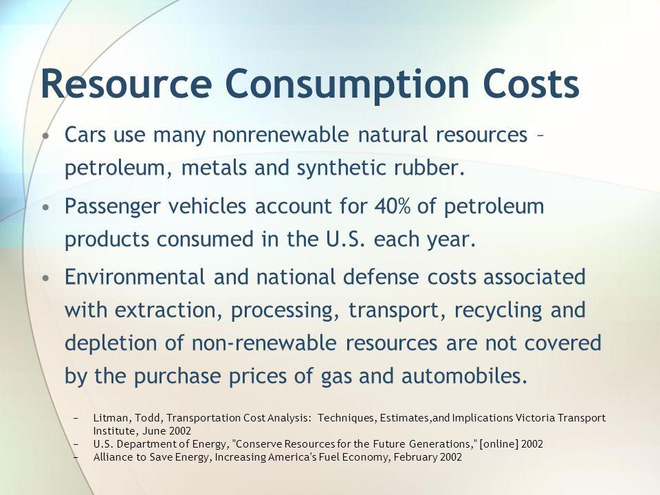 Resource Consumption Costs