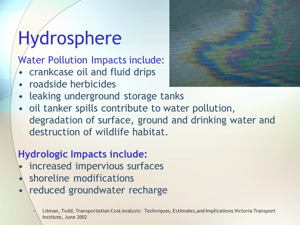 Hydrosphere Water Pollution Impacts include: