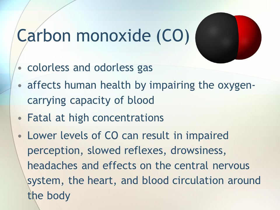 Carbon monoxide (CO) colorless and odorless gas