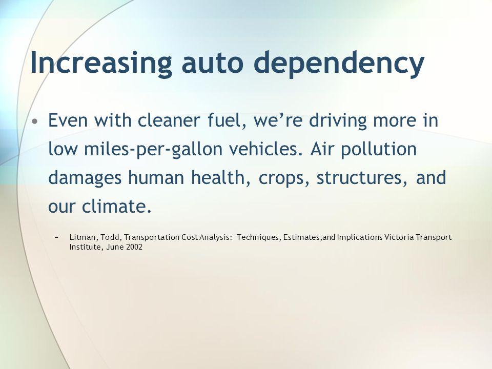 Increasing auto dependency