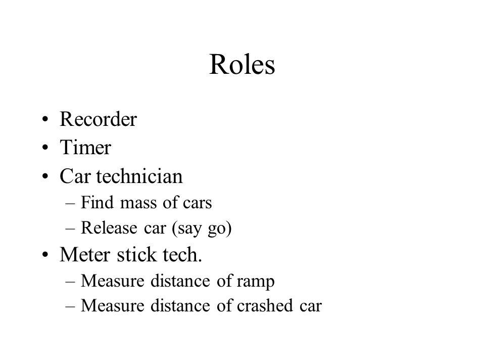 Roles Recorder Timer Car technician Meter stick tech.