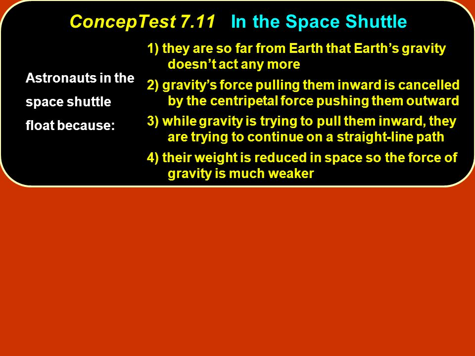 ConcepTest 7.11 In the Space Shuttle