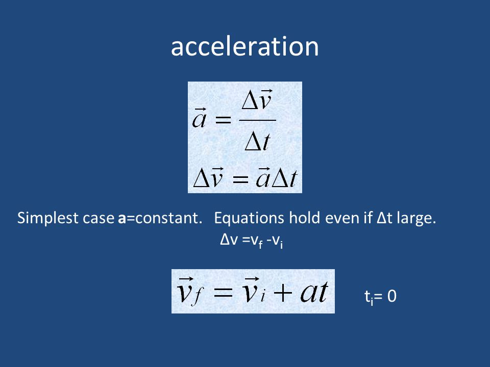 acceleration Simplest case a=constant. Equations hold even if Δt large. Δv =vf -vi ti= 0