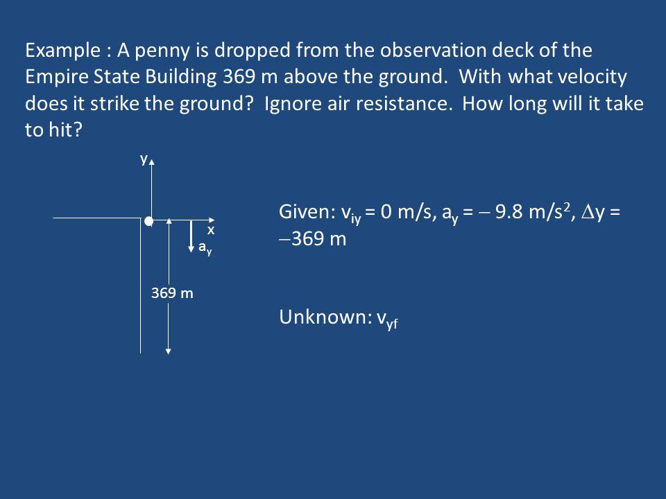 Given: viy = 0 m/s, ay =  9.8 m/s2, y = 369 m