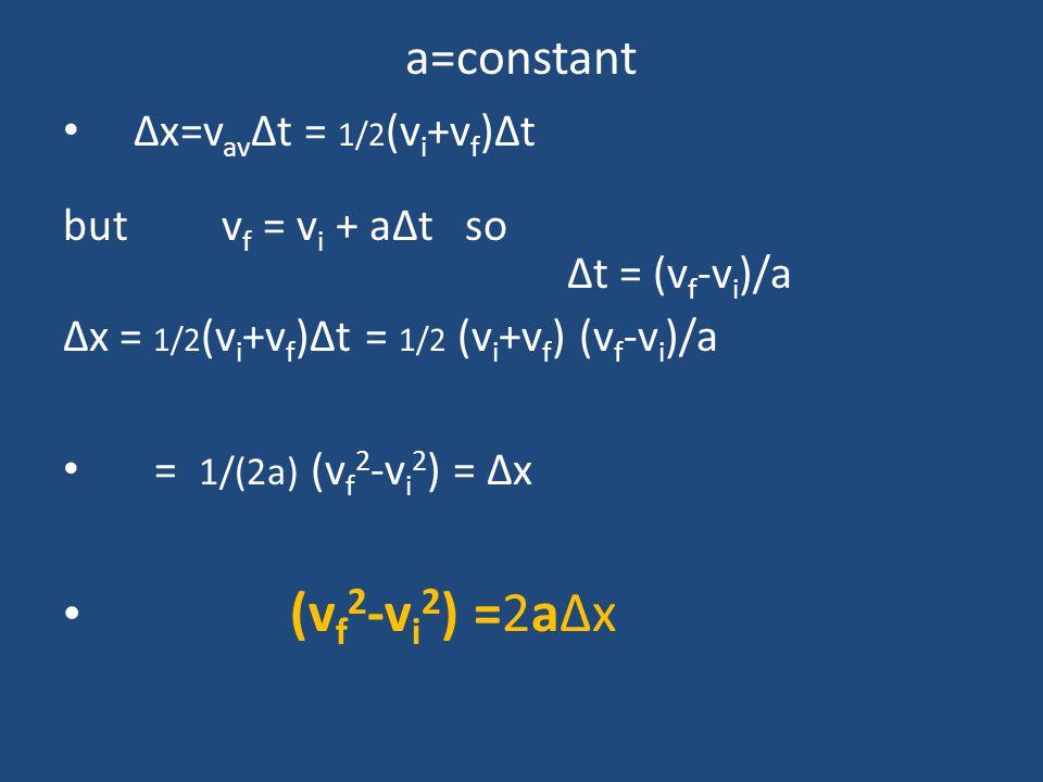 a=constant (vf2-vi2) =2aΔx Δx=vavΔt = 1/2(vi+vf)Δt