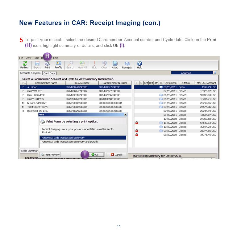 New Features in CAR: Receipt Imaging (con.)