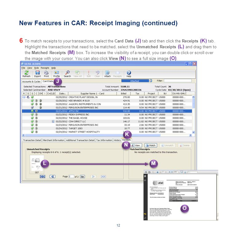 New Features in CAR: Receipt Imaging (continued)