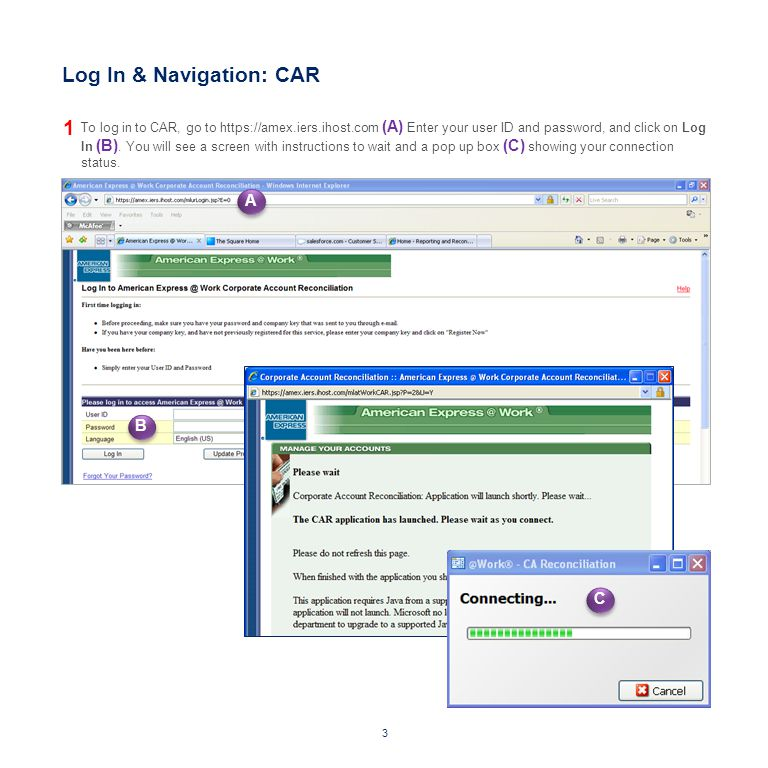 Log In & Navigation: CAR