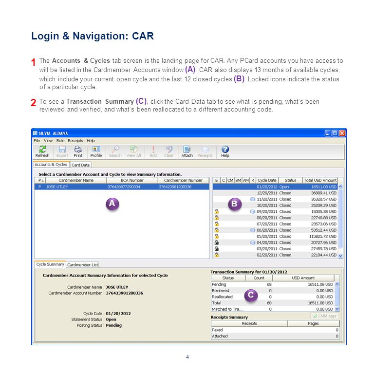 Login & Navigation: CAR