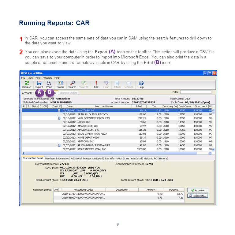 Running Reports: CAR 1 2 A B