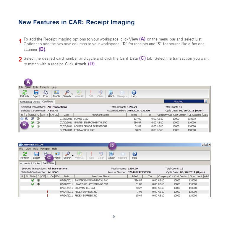 New Features in CAR: Receipt Imaging