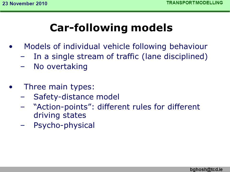 Car-following models Models of individual vehicle following behaviour