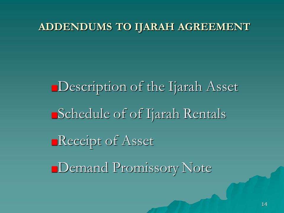 ADDENDUMS TO IJARAH AGREEMENT