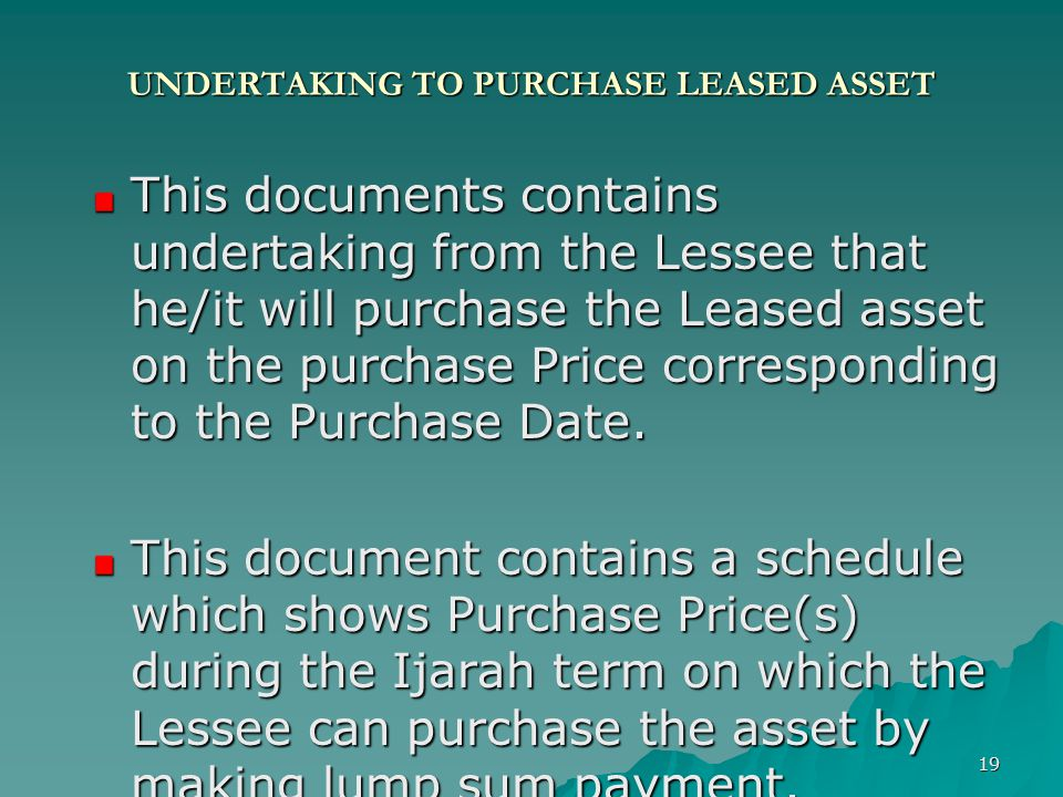 UNDERTAKING TO PURCHASE LEASED ASSET