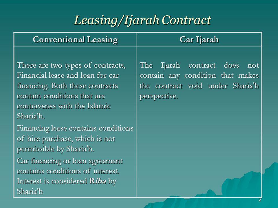 Leasing/Ijarah Contract