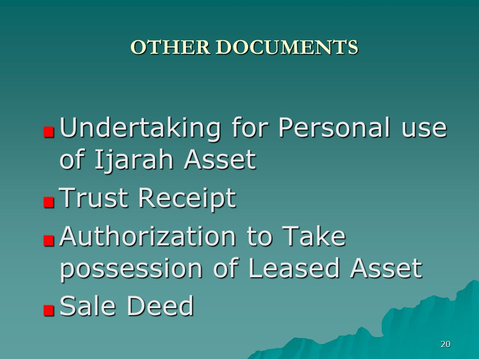 Undertaking for Personal use of Ijarah Asset Trust Receipt