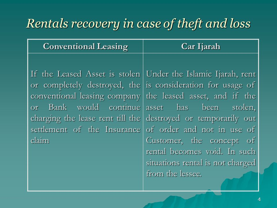 Rentals recovery in case of theft and loss
