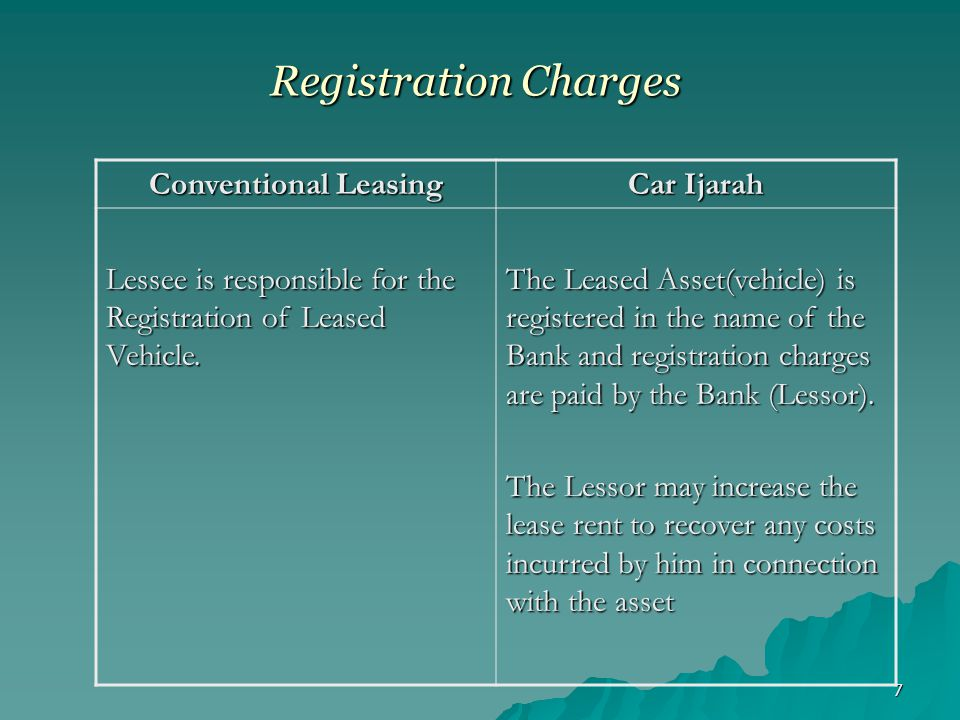 Registration Charges Conventional Leasing Car Ijarah