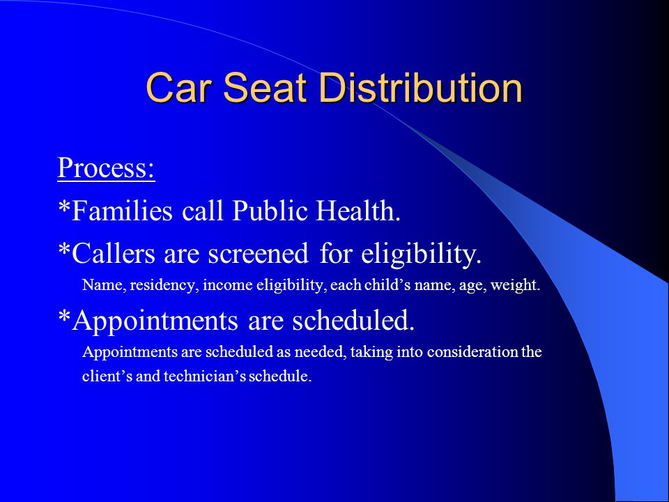 Car Seat Distribution Process: *Families call Public Health.