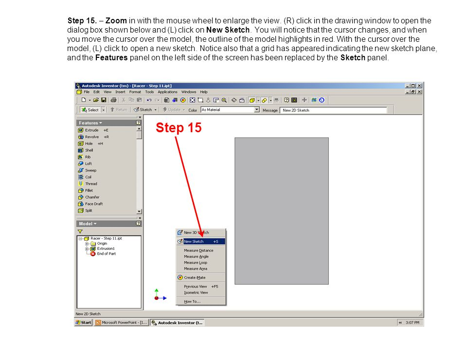 Step 15. – Zoom in with the mouse wheel to enlarge the view
