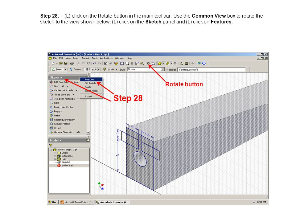 Step 28. – (L) click on the Rotate button in the main tool bar
