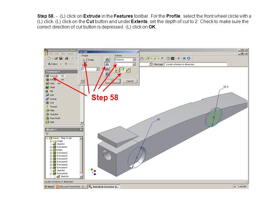 Step 58. - (L) click on Extrude in the Features toolbar