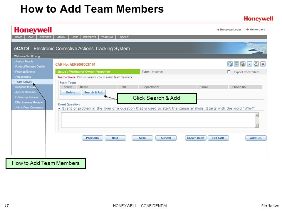 How to Add Team Members Click Search & Add How to Add Team Members