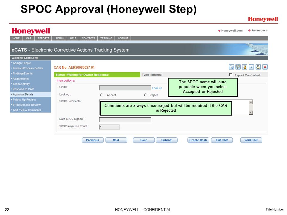 SPOC Approval (Honeywell Step)