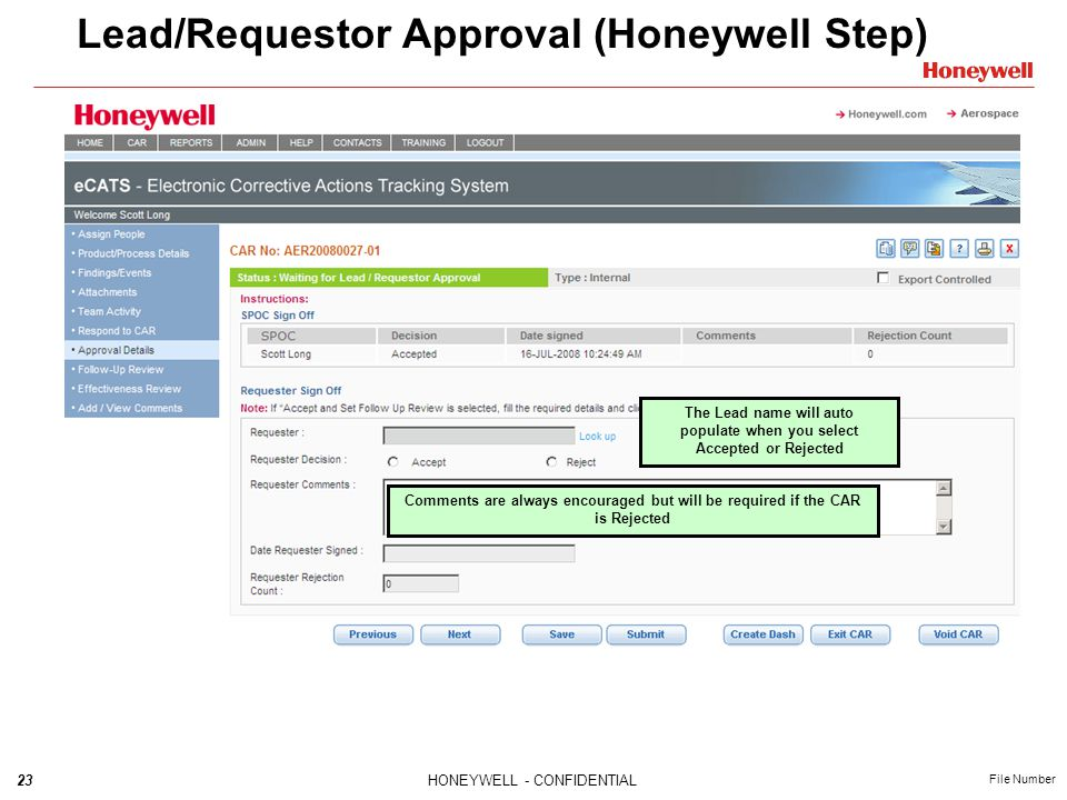 Lead/Requestor Approval (Honeywell Step)