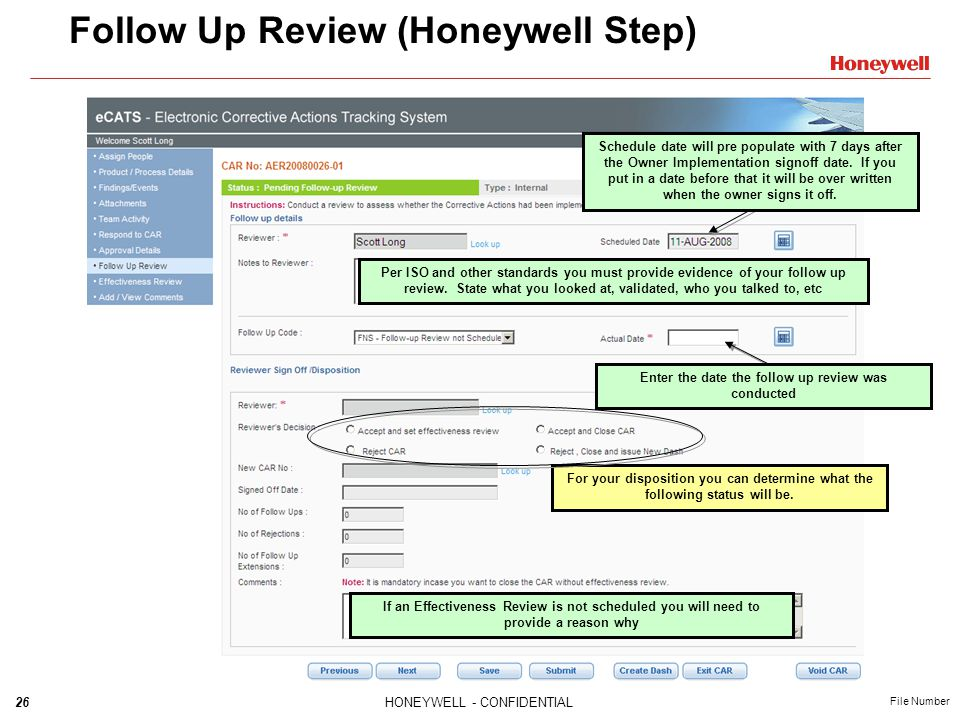 Follow Up Review (Honeywell Step)