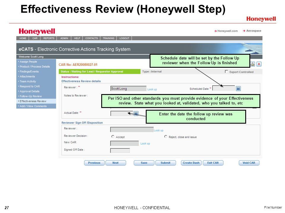 Effectiveness Review (Honeywell Step)