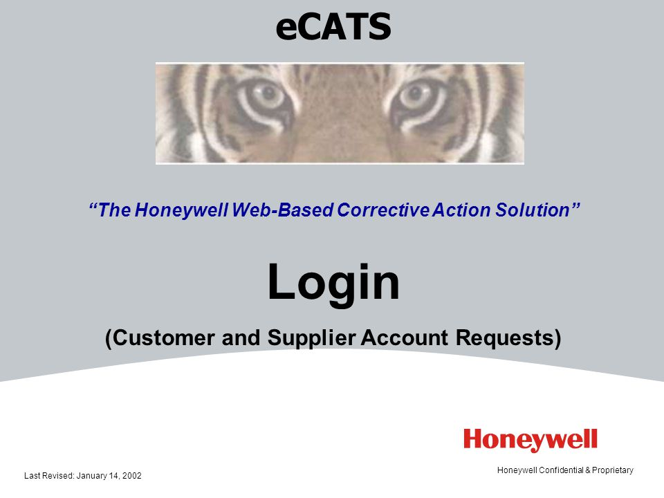 Login eCATS (Customer and Supplier Account Requests)