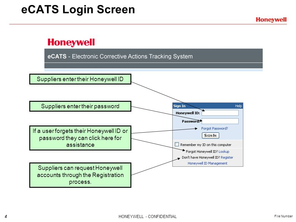 eCATS Login Screen Suppliers enter their Honeywell ID